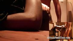 Horny black african slut interracial
