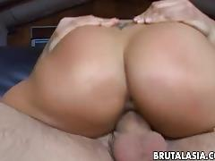 Sweet asian babe moans while being stuffed rough