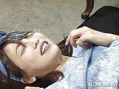 Japanese slut gets plastered with jizz