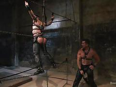 bdsm, whipping, tied up, gay handjob, leather pants, gay, gay domination, electro bdsm, bound gods, kink men, trenton ducati, hugh hunter