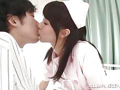Lovely nurse tastes cock