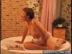 Horny granny is ready to masturbate and pose