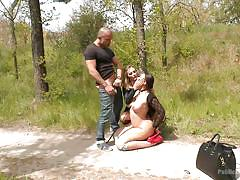 threesome, bdsm, outdoor, mouth fuck, undressing, public disgrace, busty brunette, on knees, on leash, public disgrace, kink, klara gold, mona wales, xavi tralla