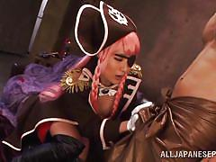 Slutty japanese pirate plays with a horny cock