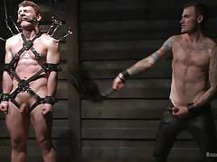 Tied up dude gets whipped