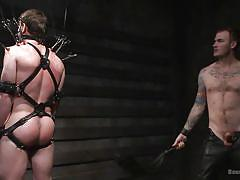 tattoo, bdsm, whipping, tied up, gay handjob, gay, gay domination, bondage device, ball gag, bound gods, kink men, scott harbor, christian wilde