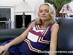 Sexy blonde cheerleader gets banged pov style