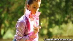 Classy babe jizz drenched