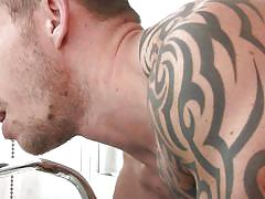 gay blowjob, gay anal, tattooed guy, fucked from behind, nipple licking, cock stroking, muscular gays, gods of men, men.com, phenix saint, richard pierce