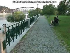Blonde undressed and fucked on a bench