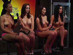 interview, playboy, busty, babes, brunette, teasing, morning show, morning show, playboy tv, leia christiana, carlotta champagne
