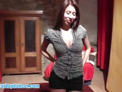 Asian hottie does a sexy lapdance then licks balls and cock