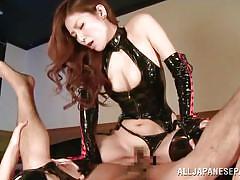 Dominant japanese slut rides him hard