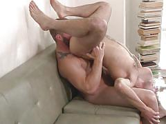 blowjob, kissing, couch, gays, anal sex, pov, gay riding cock, gay rimjob, str8 to gay, men, chris harder, colby jansen