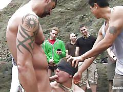 bdsm, outdoor, public sex, blindfolded, gays, anal sex, gay blowjob, rope bondage, sea side, bound in public, kink men, mike martin, micah andrews