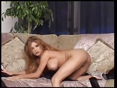 J15 busty blonde strips and masturbates