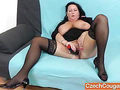 Busty czech cougar robislava toying her cunt