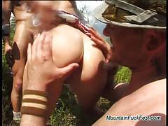 German brunette gets banged hard in the forest