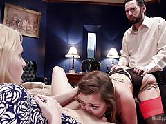 Dani licks a pussy, while getting fucked from behind