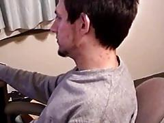 Cute hot dude jerking infront of the computer