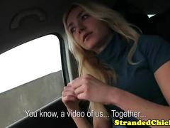 Hitchhiking blonde toying with cock