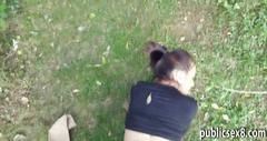 Pretty czech girl pussy nailed in public for some money