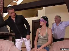 Stud bangs a wife in front of her older husband