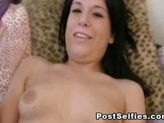 Horny sexy brunette fucking pussy with a glass dildo