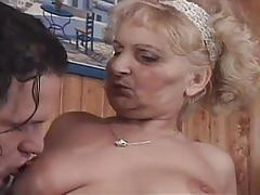 Horny granny gets a young cock