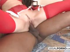 Big black cock fucking two girls wearing sexy red lingerie sl-6-03