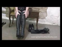 Hot brunette milf loves the feel of sexy leather boots against her long legs