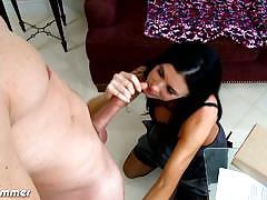 india summer, brunette, big dick, milf, handjob, stockings, mom, jerking, pantyhose, black hair, deepthroat, big cock, hairy pussy
