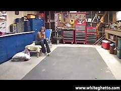 Milf gets slammed in a car shop