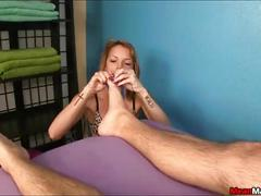 Blonde masseuse ties a man up for a dominating handjob