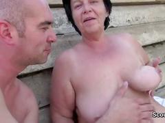 German hairy milf get seduce to fuck public