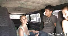 Hot and sweet blonde in the van blows a dick