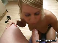 Amateur girlfriend masturbates and sucks with facial cumshot