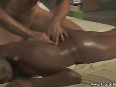 Ebony slut gets her cunt oiled and massaged