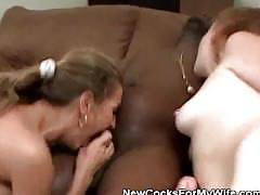 Two wives share a black cock