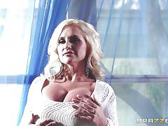 Sexy blonde pornstar loves playing with big cock