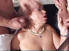 Horny chubby granny takes on two younger boys cocks