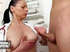 Busty milf doctor greta sexy uniform and wankjob