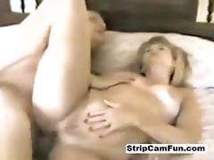 Blonde milf gives blowjob and rides cock
