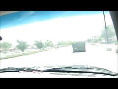Girl masturbates while driving