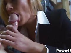 Blonde milf sucks in pawn shop