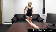 Blonde spinner auditions at backroom casting couch