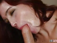 Jodi taylor gives a guy head after touching herself