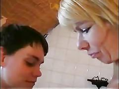 Blonde busty german mom has vaught son masturbating