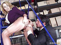 Busty corinna blows dick at work