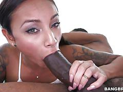 tattoo, black, interracial, blowjob, fingering, monster cock, brunette babe, monsters of cock, bangbros network, natalia mendez